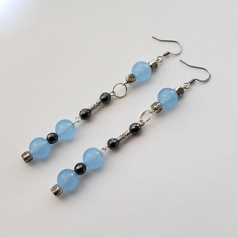 Genuine Aquamarine and Faceted Hematite Earrings image 0
