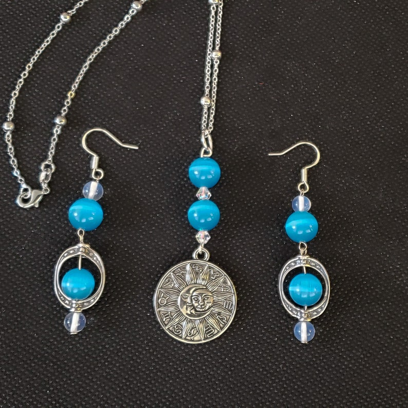 Mexican Blue Opal Clear Quartz Necklace and Earrings. image 0