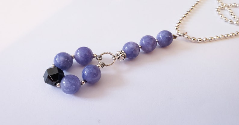 Angelite Sterling Silver and Hematite Necklace image 0