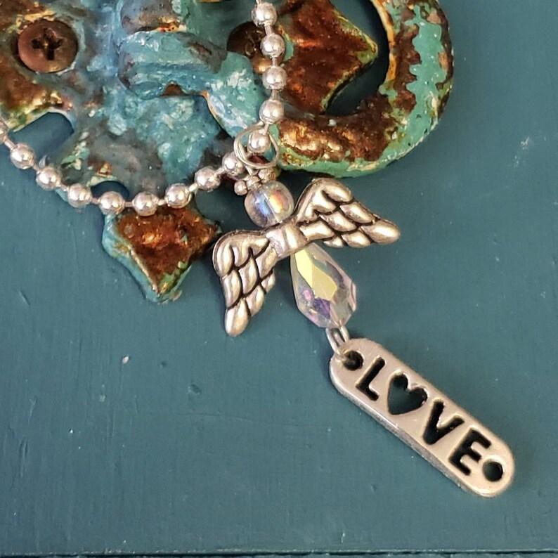 Angel angel wings pendant and LOVE charm Swarovski Crystal image 0