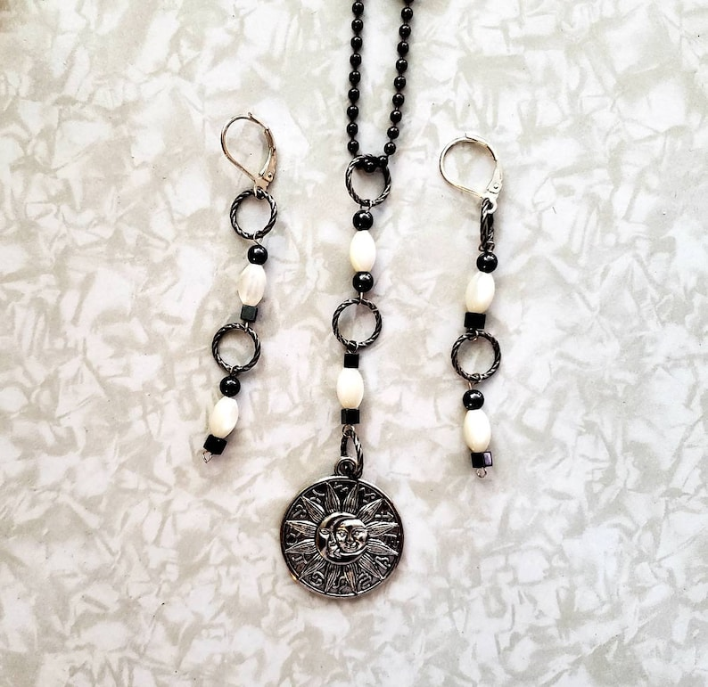 Jewelry Set Necklace and Earrings Tibetan Silver Celestial image 0