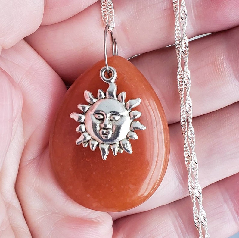 Genuine Sunstone Pendant Necklace with Sun Charm image 0