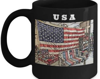 American Flag Mug | USA Coffee Mug |  Patriotic Gift For Veterans, 4th of July and For Those That Love the United States of America