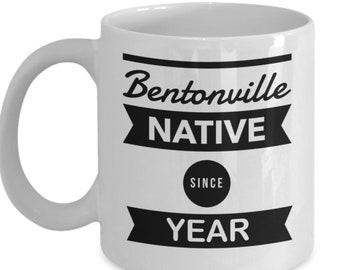 Personalized Bentonville  Arkansas Native Coffe Mug - This Unique Custom Native Bentonville AR Cup Is A Great Christmas Keepsake Gift!