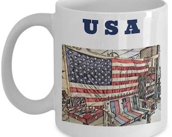 American Flag Mug | Patriotic USA Coffee Mug | Great Gift For Veterans| 4th of July| USA| United States Mug