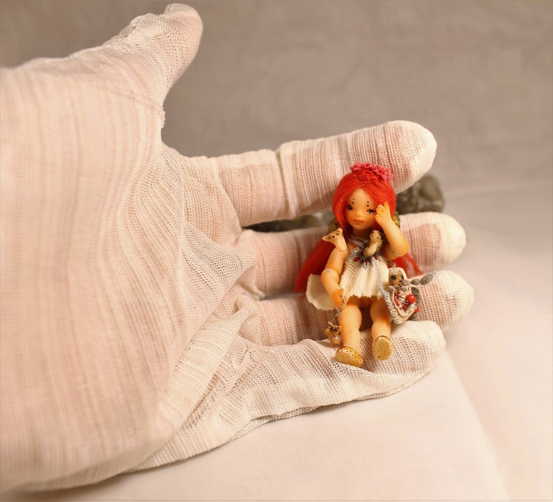 Miniature 1:24 Little Foxberry OOAK BJD art doll by Julia Arts Puppen & Zubehör Künstlerpuppen