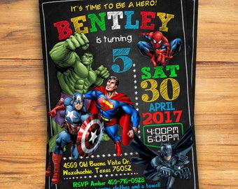 Superhero Invitation Avenger Birthday Boy