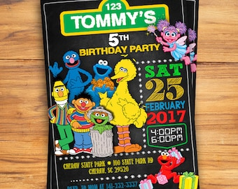 Sesame Street Invitation Birthday Card Invites