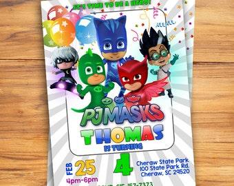 PJ Mask Birthday Invitation Party Printable Personlized