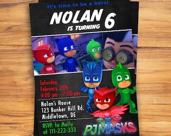 PJ Masks Invitation Birthday Pj Party Personalized