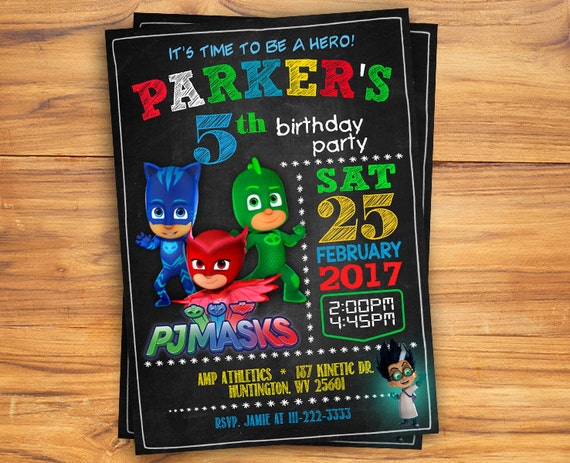PJ Masks Invitations Birthday Party Invitation