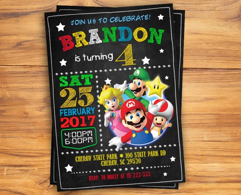 Super Mario Birthday Invitation Chalkboard Super Mario Custom Card Mario Bros Party Invites Super Mario Digital Printable Invitation