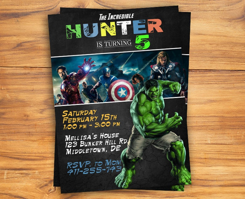 Hulk Invitation Party Birthday