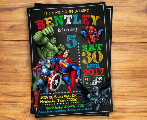 superhero invitation superhero avenger birthday invitation etsy