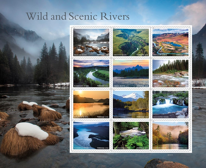 Wild and Scenic Rivers stamps  nature stamps sheet of 12 stamps