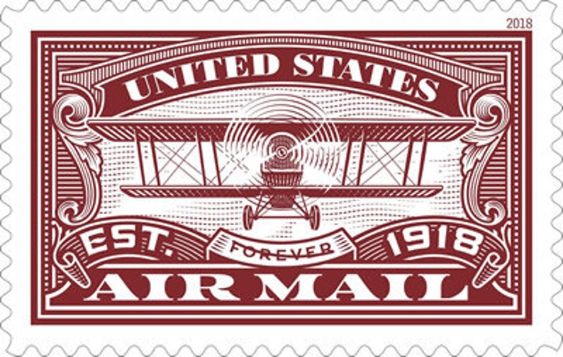 USPS Forever First Class Stamp: Air Mail RED/ forever stamps / set of 2