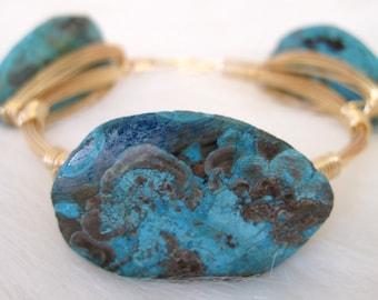 Ocean Jasper Wire Bangle   Blue Stone Bangle   Stackable Bangle   Bangle   Wire Bangle   Wire Bracelet   Stone Bangle   Gemstone Bangle