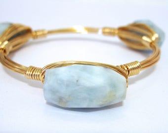 Aquamarine Wire Bangle | Blue Wire Bangle | Stackable Bangle | Bangle | Wire Bangle | Stone Bangles | Wire Bangle Bracelet |