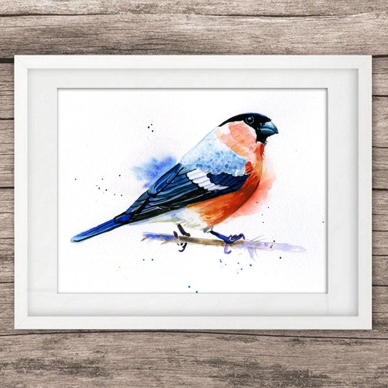 Gil Ptak Minimalistyczny Oryginalny Obraz Akwarela Niebieski Etsy