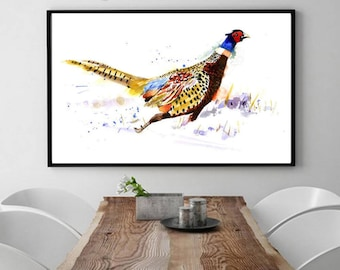 PRINT BIRD Watercolour Limited Edition, Bird Illustration. Running Pheasant.