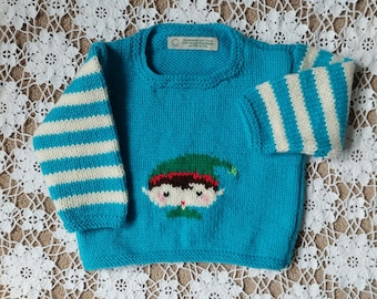 Baby Pullover, Elf Sweater, Hand Knit Jumper, Hand Knit Pullover, Christmas Sweater, Turquoise Pullover