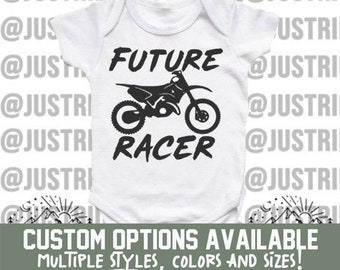 77284f20 Future Racer Custom Onesie - Dirt Bike Freestyle Motocross Supercross SX  Racing Shower Gift Moto Baby Dirt Bike Onesie