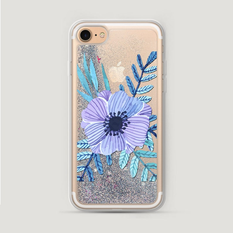 the latest 908ba 74d1e Floral iPhone SE Case, Watercolor iPhone 6S Plus Case, Glitter iPhone X  Case, Gift for Girlfriend, Sparkle Case iPhone 7 Liquid Glitter Case