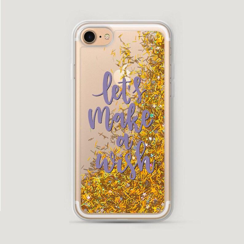 reputable site d78d2 260d3 Make Wish iPhone 8 Case, Galaxy S8 Plus Case, iPhone 6S Glitter Case,  Liquid Phone Case, iPhone 7 Glitter Case, Transparent iPhone 6 Case