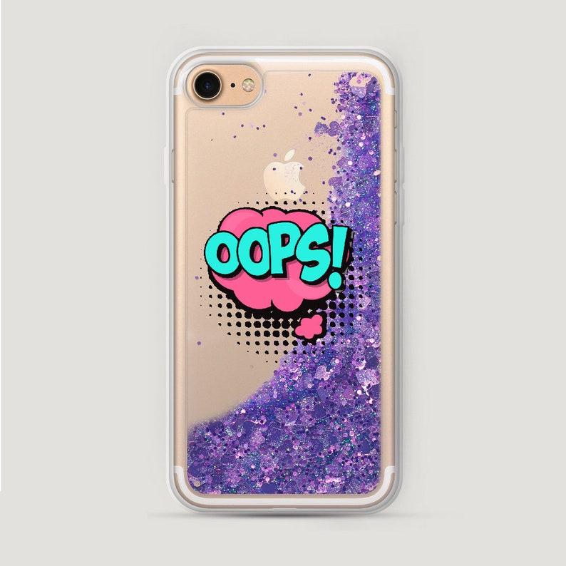 separation shoes 6a1cf 891e2 Oops iPhone SE Case, Glitter iPhone 6S Plus Case Pop Art, iPhone 6 Glitter  Case, iPhone 7 Liquid Glitter Case, Water Glitter iPhone 8 Case