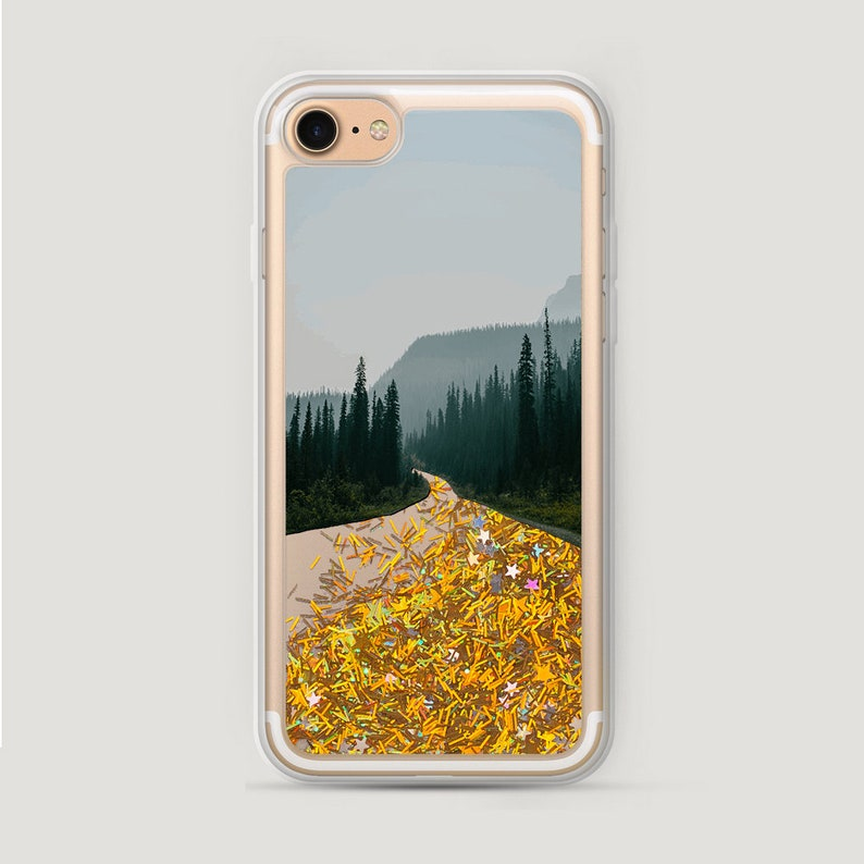 super popular 21582 8d9df Forest iPhone 6S Case, Glitter Road iPhone 5 Case, Liquid Glitter iPhone 7  Cover, iPhone 6 Plus Glitter Case, Sparkly iPhone 8 Case Bling