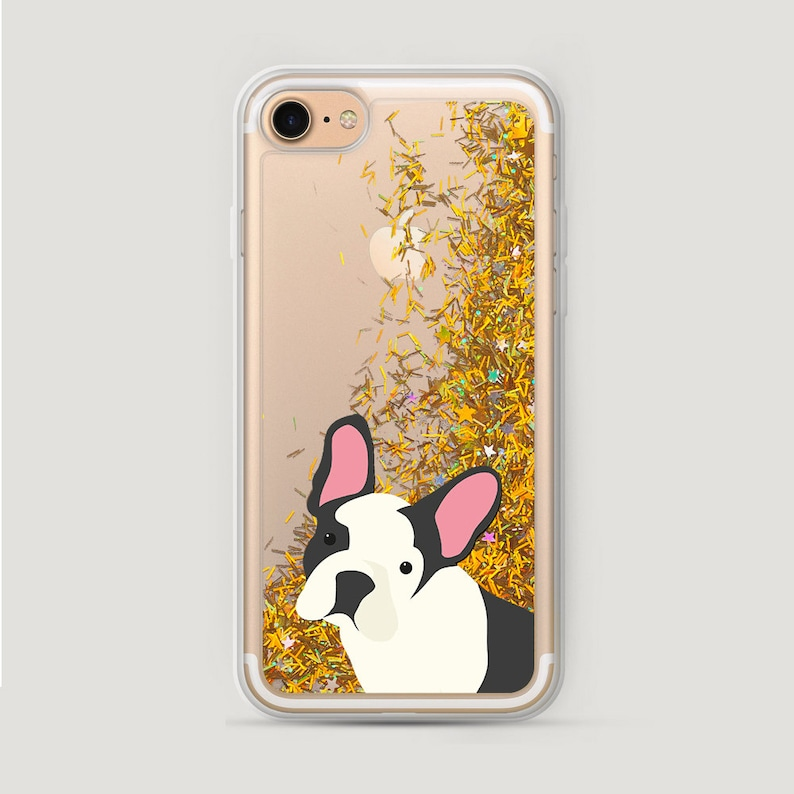 new styles b969d 23c33 French Bulldog Phone Case, Dog iPhone 6S Case, Glitter iPhone 8 Plus Cover,  Glitter iPhone 6 Case, iPhone 7 Liquid Glitter Case Sparkly
