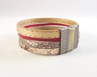 SEVILLA /Boho leather wrap cuff 4 rows - red / gold - leather and glitter - Valentine's day gift!