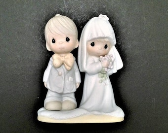 Precious Moments, Vintage Figure, The Lord Bless You And Keep You, Bride and Groom, Wedding Cake Topper, Enesco Figurine, E-3114, 1979