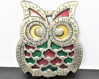Owl Trivet, Stained Glass, Vintage Metal Owl, Vintage Trivet, Owl Kitchen  Decor, Owl Pot Holder, Whimsical Kitchen Decor, Owl Collectible