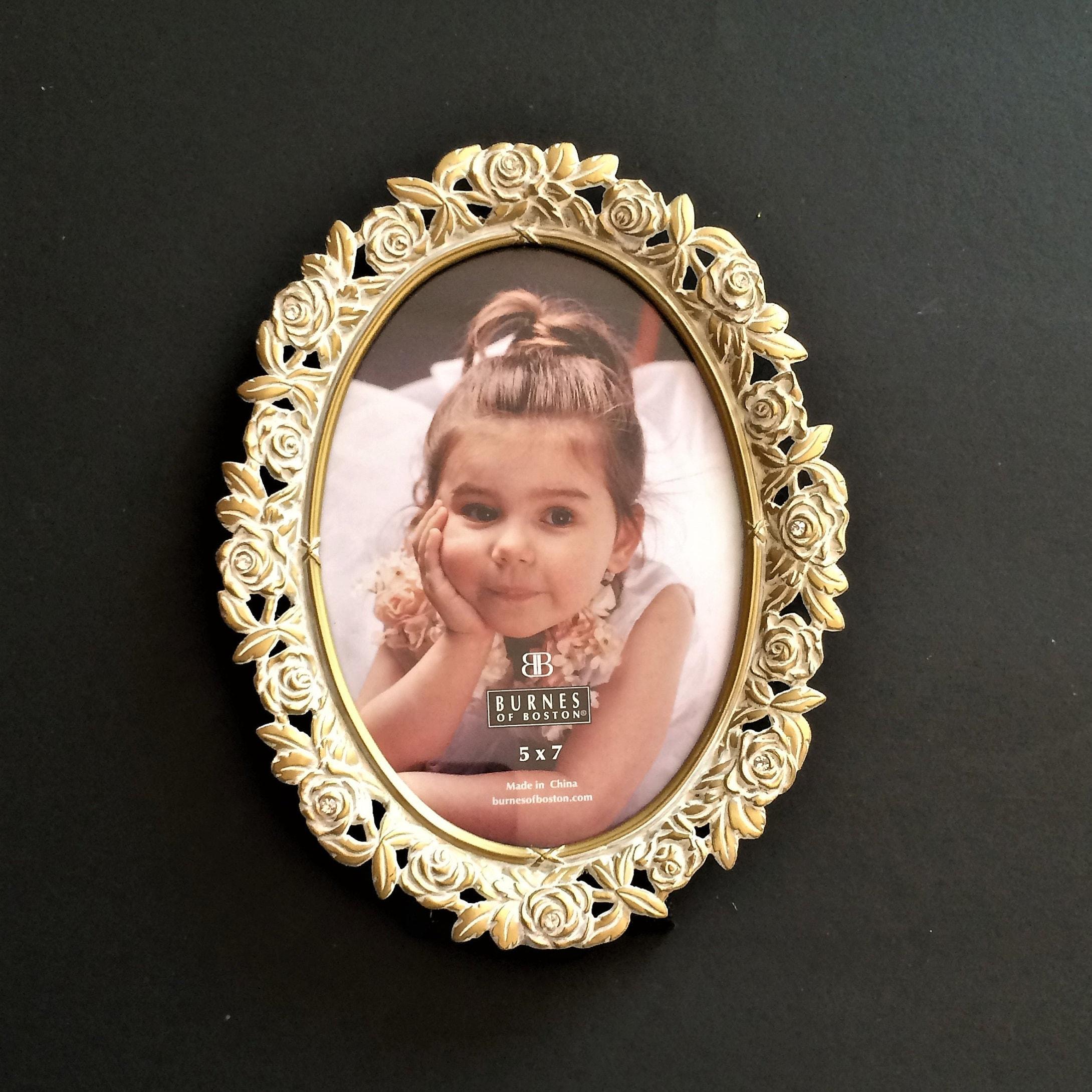 Gold 5 x 7 Frame Oval Jeweled Vintage Burnes of Boston   Etsy