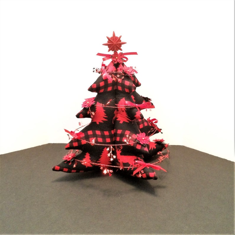 Red And Black Christmas Tree Pine Trees And Deer Buffalo Etsy
