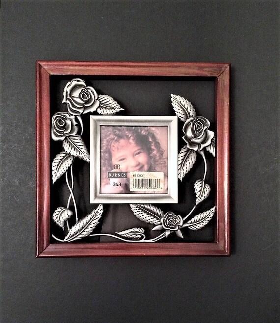 Vintage Frame 3 X 3 Metal And Wood Picture Frame Burnes Of Etsy