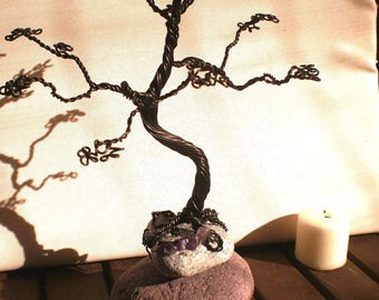 Aluminum Bonsai style tree Brown and Amethyst.
