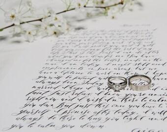 Custom Calligraphy Quote, Vow, Poem, Song Lyrics