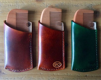 Leather holders/sleeve/case complete with beard comb handmade gift idea