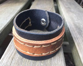 Handmade Upcycled reclamied leather belt cuff unisex item