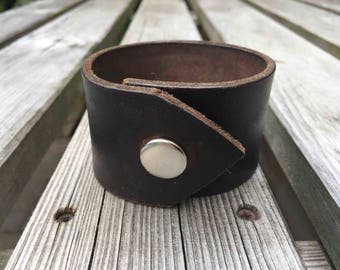 Upcycled leather belt cuff/reclamied leather