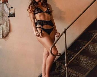 3 pieces lingerie set (bra, string, belt for stockings)
