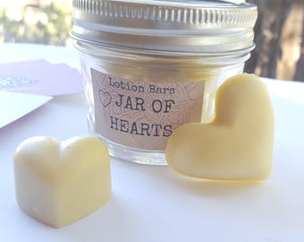 Lotion Bars: Jar of Hearts (Moisturizer, Cocoa Butter, All Natural, Organic, Gifts, Cute, Valentine's Day, Mother's Day, Anniversary, Yoga)