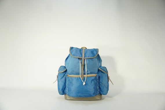 Vintage Backpack / 70s Blue Backpack / Vintage Ruc