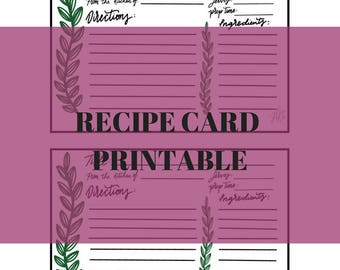 Greenery Recipe Card Printable