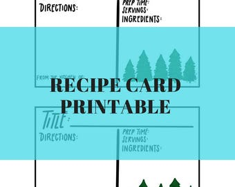 Pine Tree Recipe Card Printable