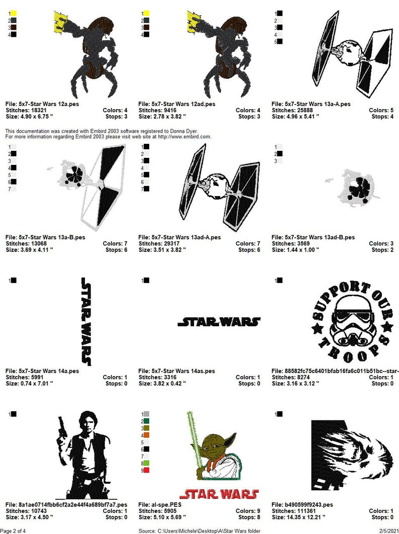 STAR WARS DESIGN Collection Embroidery Machine Designs Patterns Pes 30