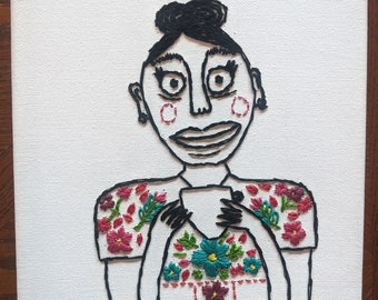 Nikki hand embroidery on canvas