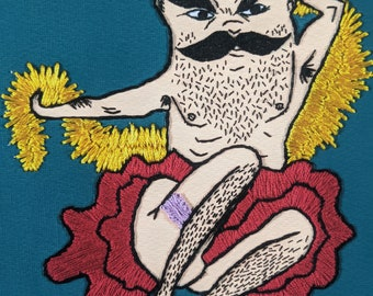 Fancy Embroidered Man PRINT teal